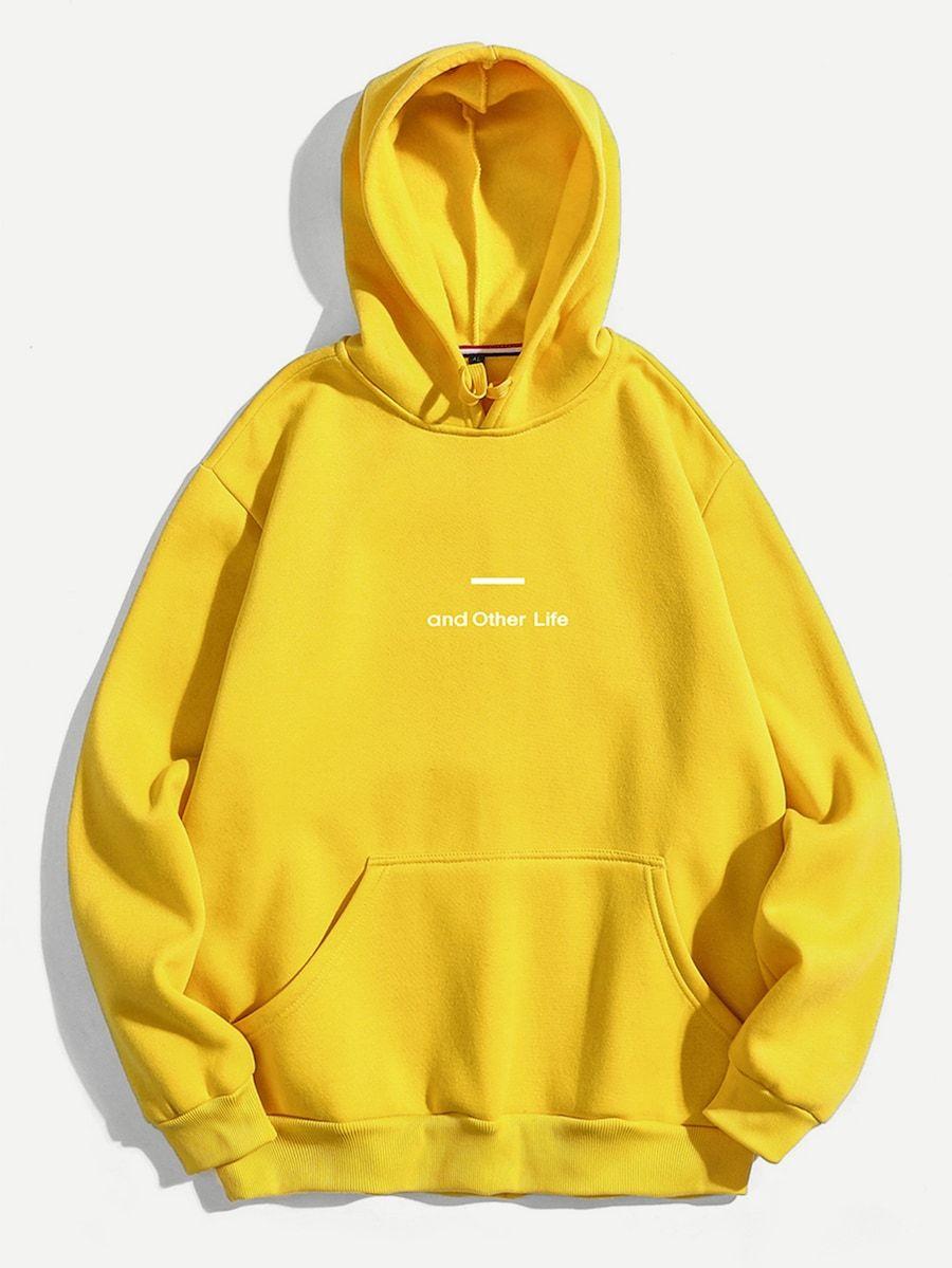 Men Letter Print Hooded Sweatshirt Shein Sheinside Printed Hooded Sweatshirt Hooded Sweatshirts Sweatshirts [ 1199 x 900 Pixel ]