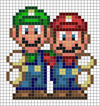 mario y luigi pixel art
