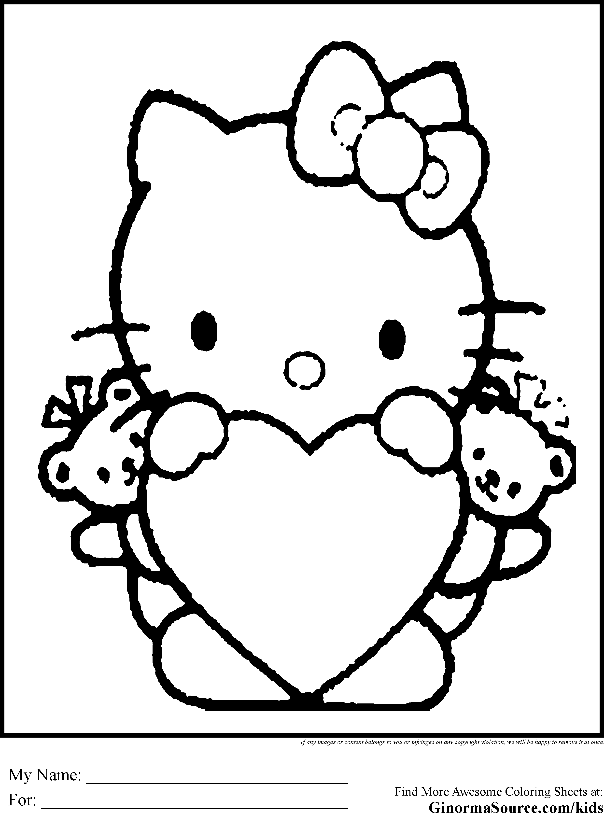 Hello Kitty Valentine Coloring Pages  Forcoloringpages.com