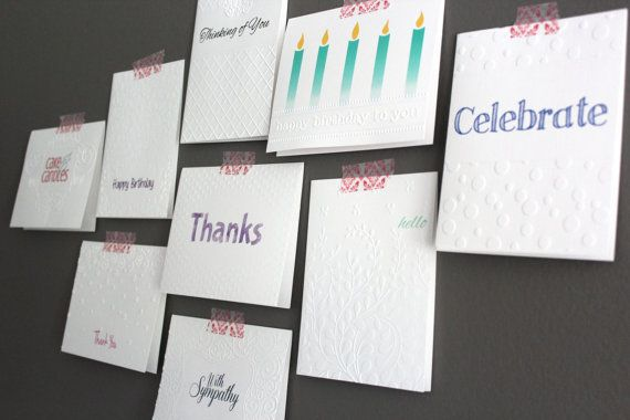 Handmade Notecards Stationary Gift Item Embossed Thank you card Birthday Card