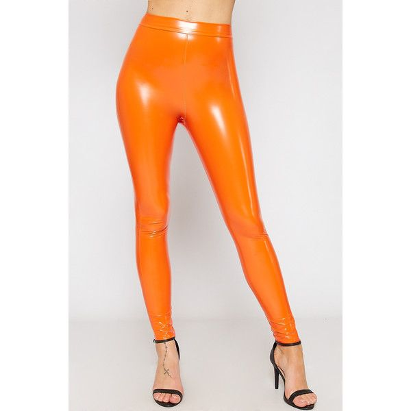 722f2a686d2baf WearAll Vinyl Leggings ($34) ❤ liked on Polyvore featuring pants, leggings,  orange, shiny leggings, high waisted shiny leggings, high waisted pants, ...