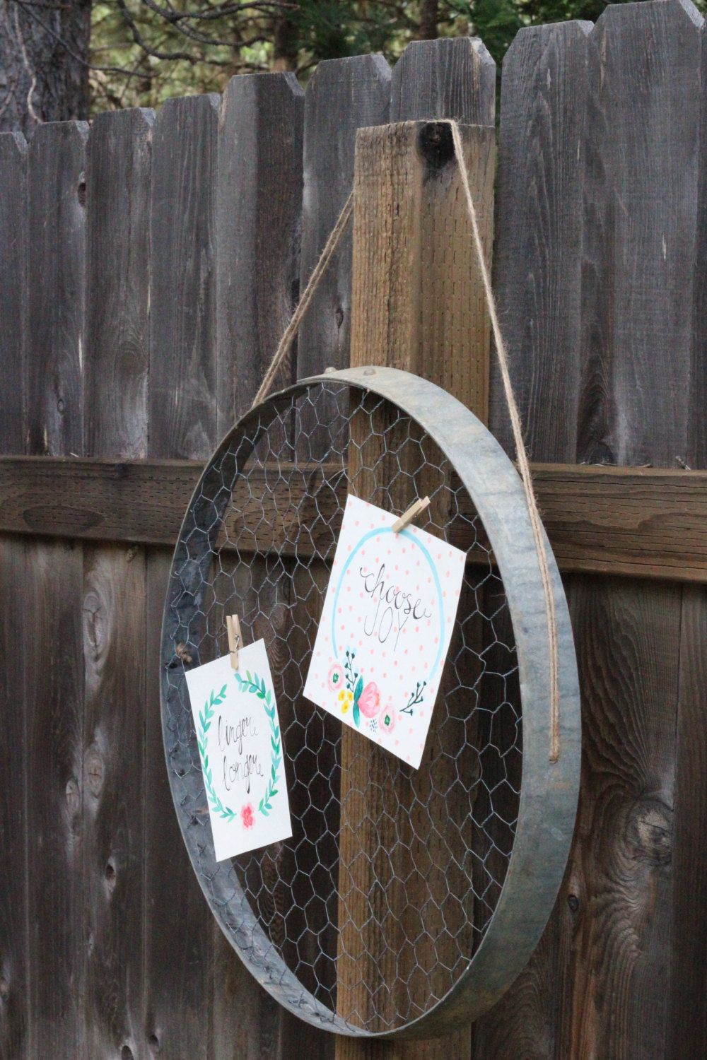 display board reclaimed wine barrel ring chicken wire