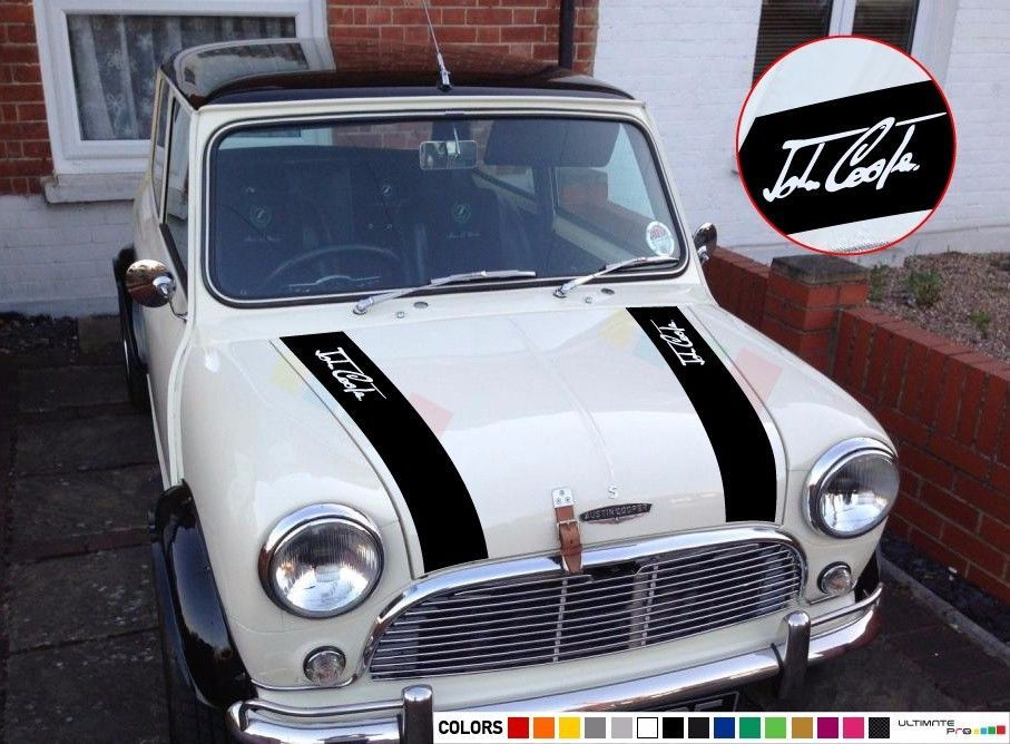 D MINI BONNET STRIPES VINYL DECAL GRAPHICS COOPER WORKS ANY COLOUR CLASSIC /& NEW