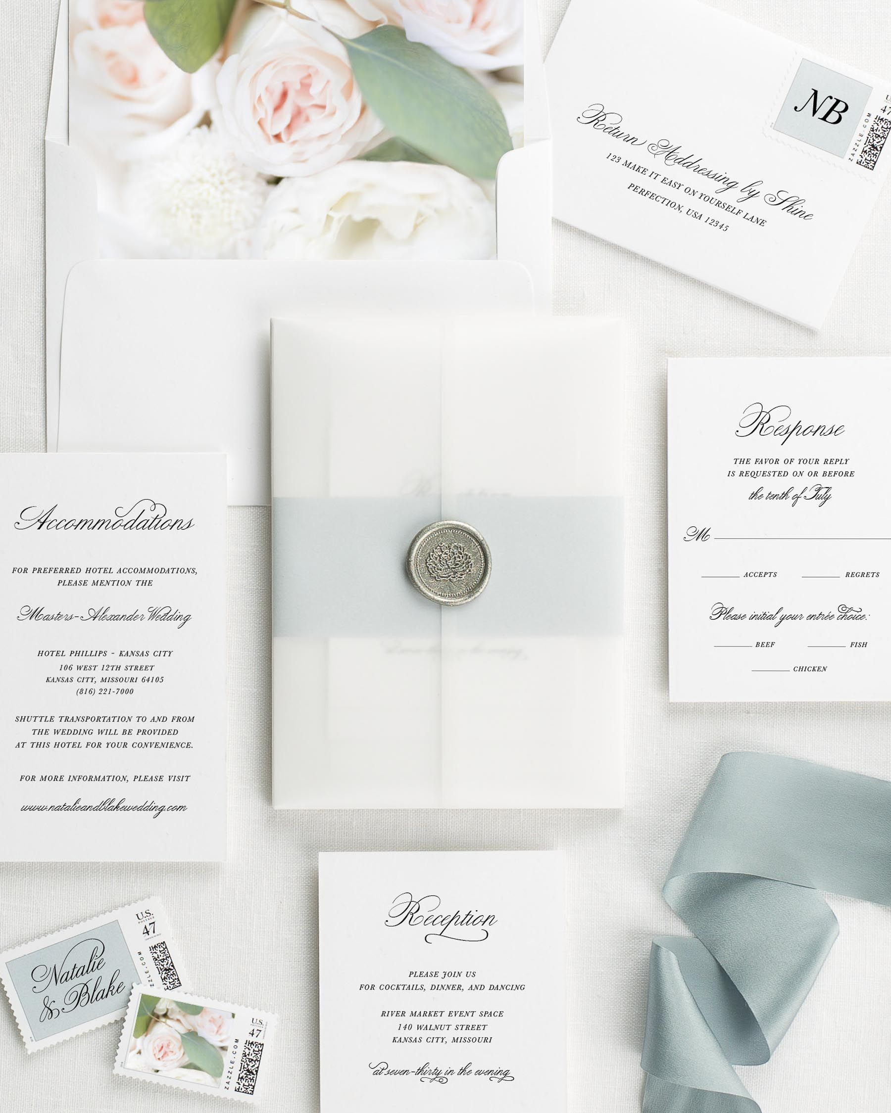 Classic Script Floral Wedding Invitations   Floral wedding, Weddings ...