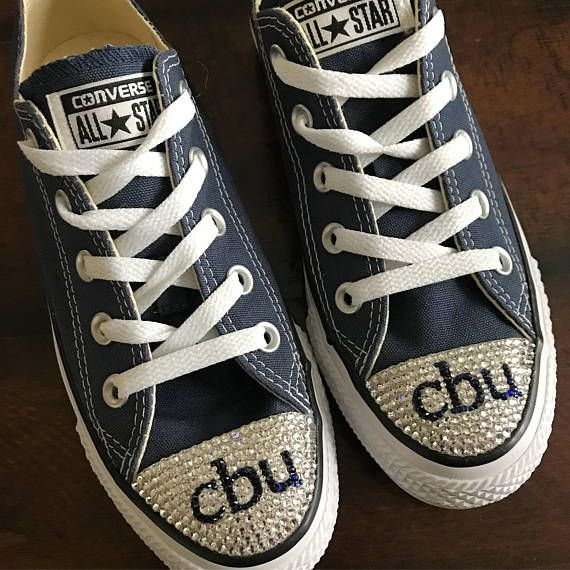 328c87cf0124 These are hand blinged Converse shoes with Swarovski crystals. These shoes  are perfect for teens and adults to show their school spirit.