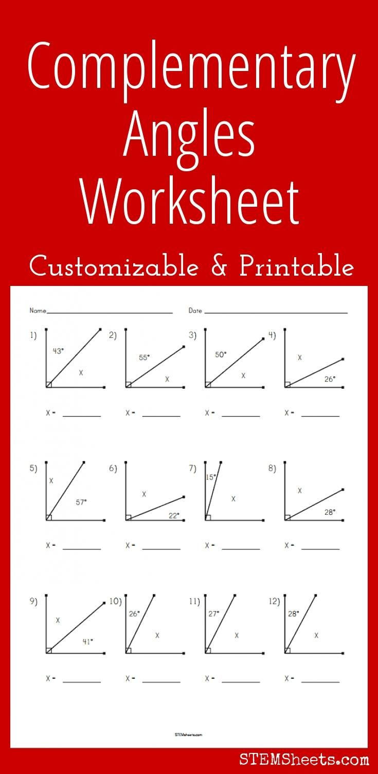 medium resolution of Complementary Angles Worksheet - Customizable and Printable   Angles  worksheet