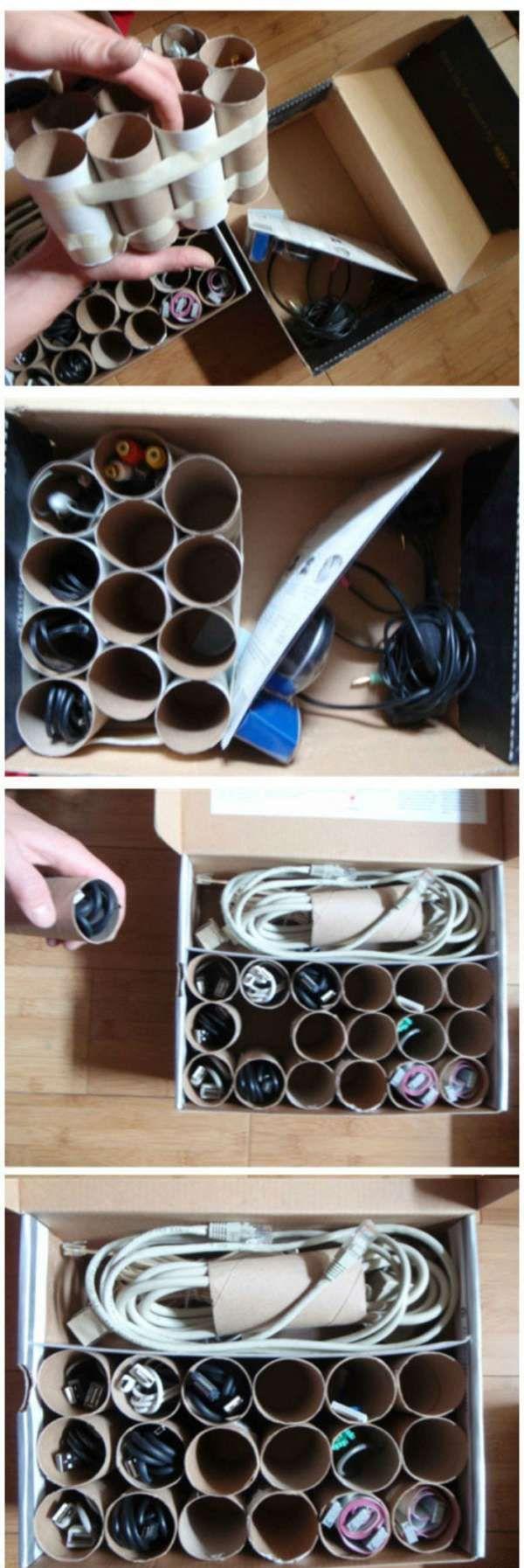14 Nouvelles Facons D Utiliser Les Rouleaux De Papier Toilette Rangement Diy Storage Diy Organization Et Cord Storage