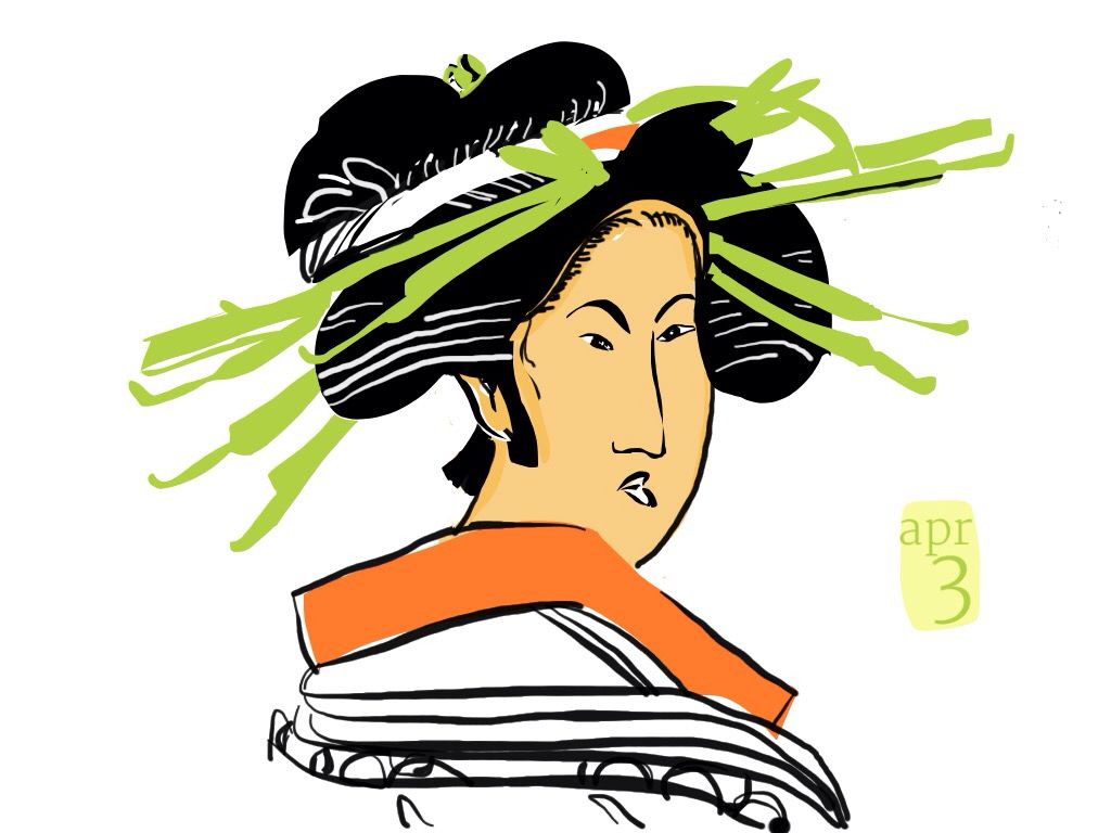 Drawing on my ipad from the Mount Holyoke College Art Museum Asian Collection. Drawn by Judy Kahooti