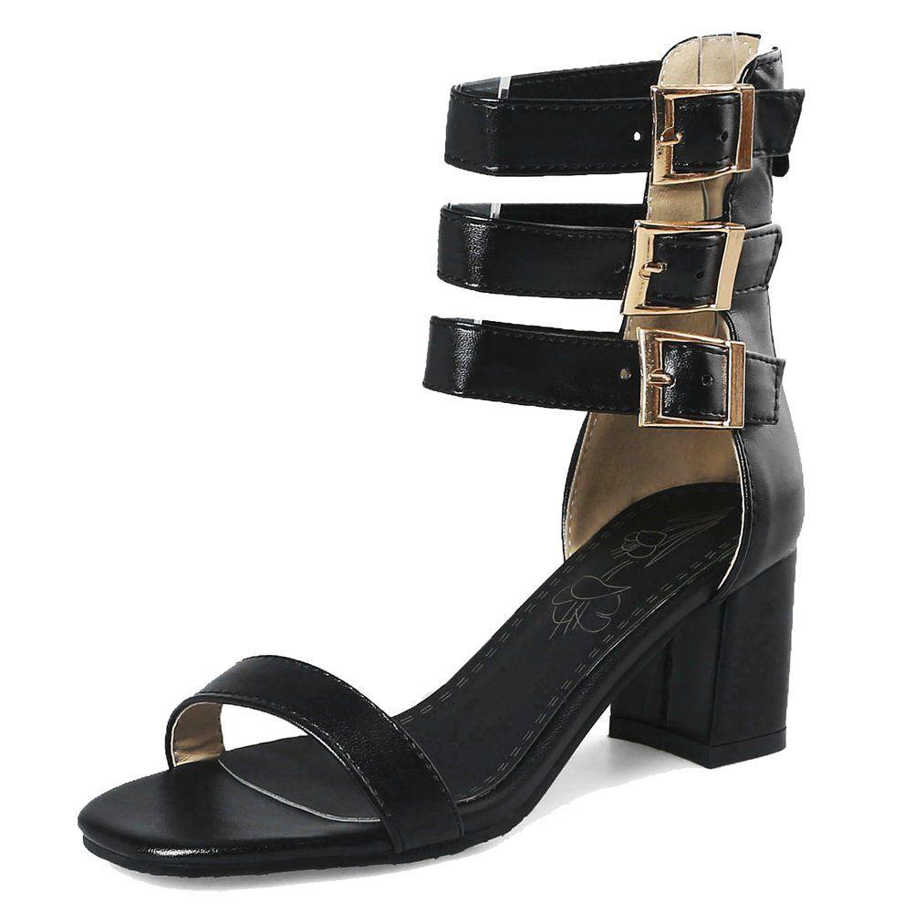 8da338c743f6 HiEase Women s Metallic Patent Leather Zipper Gladiator Sandals High Top Buckles  Dress Sandals Size 4-