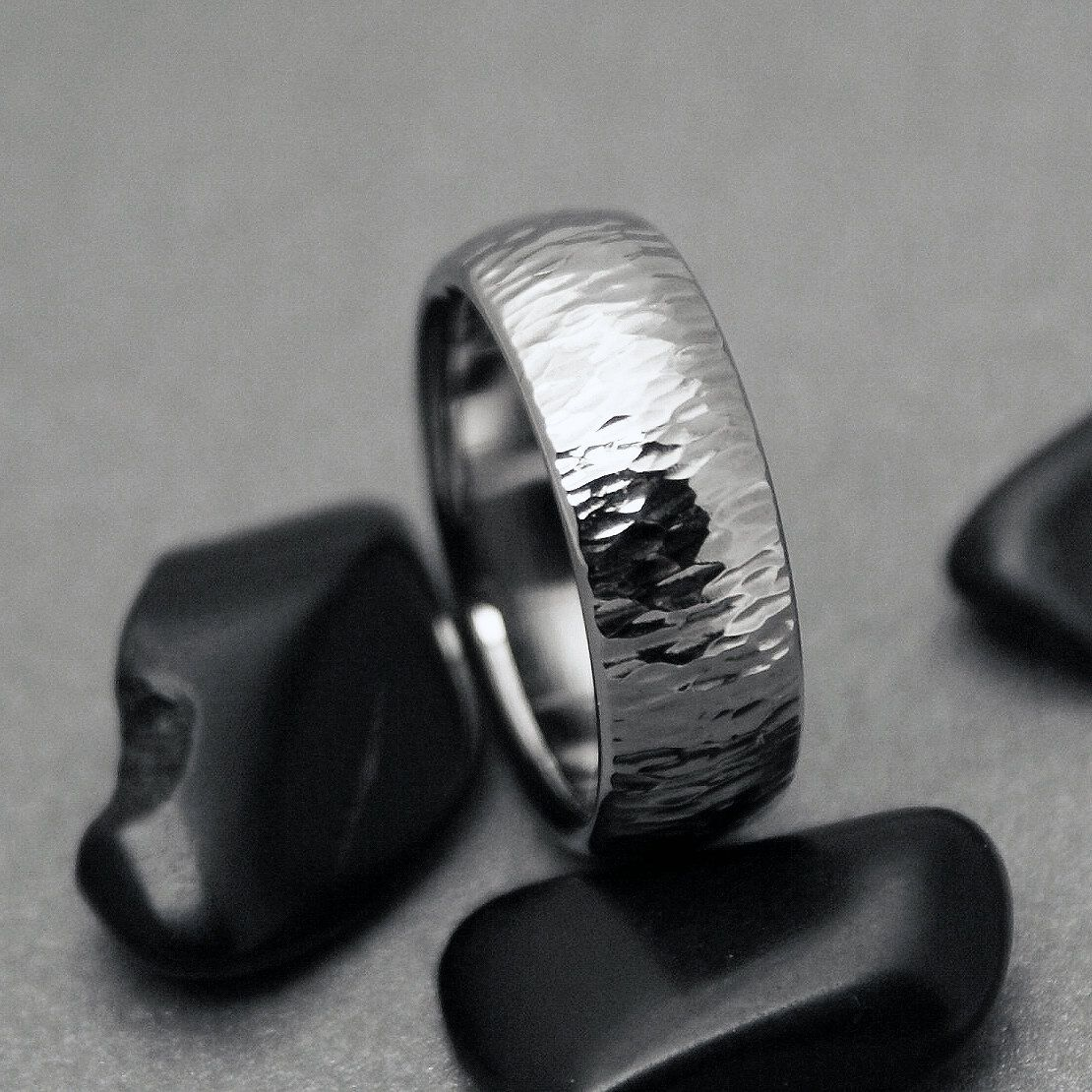 Hammered Titanium Wedding Ring in a Domed Profile Unique