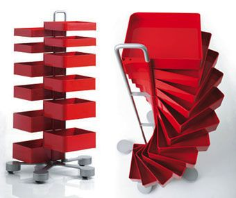 Office Furniture: Spinny Organizer Storage Cabinet Drawers on Casters