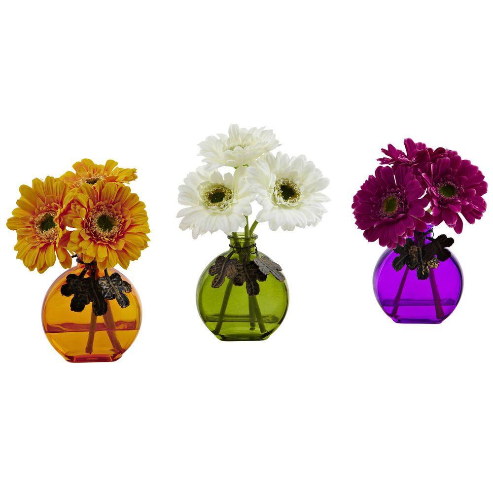 Artificial Silk Gerber Daisy Fake Flower Arrangements W Vase Set