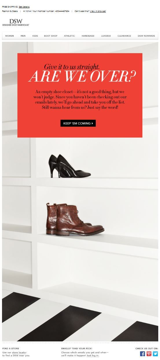 Excellent example of a re-engagement campaign from DSW Email - email marketing sample
