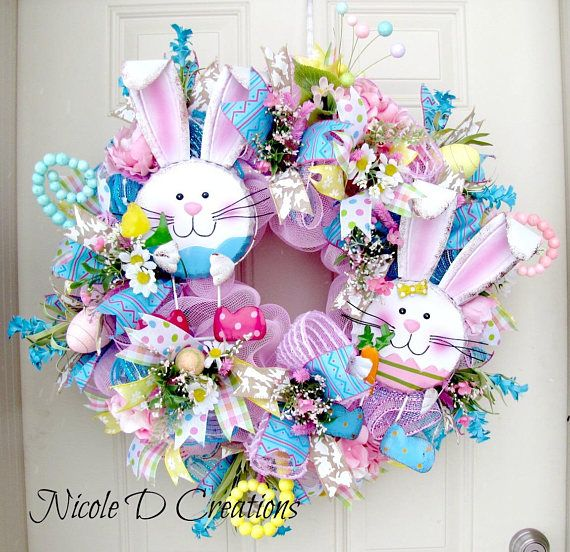 Easter Wreath Bunny Deco Mesh Front Door