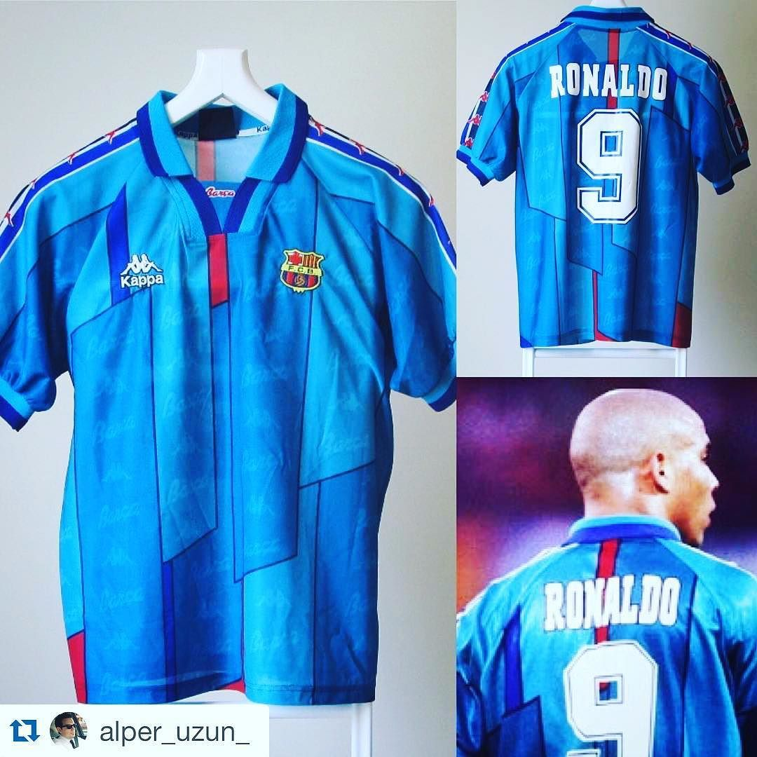 Repost 1996 97 Barcelona away football shirt with  9 Ronaldo on the back  from  alper uzun   phenom  Ronaldo  Barca  Barcelona  fcbarcelona  fcb   kappa ... d06b24b3dc20d
