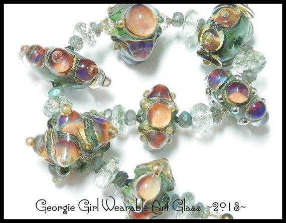 HANDMADE LAMPWORK Bead Set 7 Georgina Oshea by GeorgieGirlArtGlass, $230.00