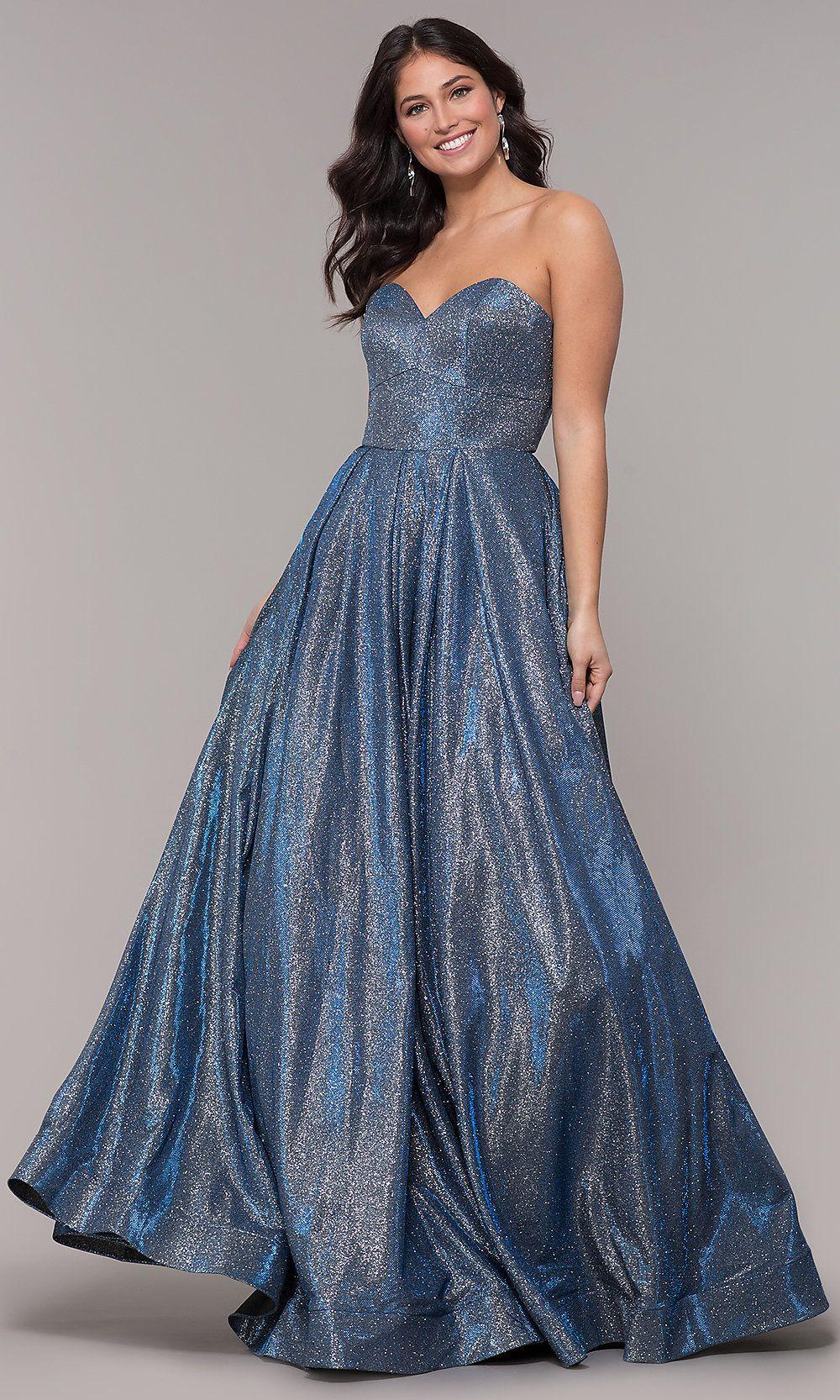 Glitter Jersey Long Strapless Sweetheart Prom Dress Prom Dresses Dresses Sparkly Dress [ 1666 x 1000 Pixel ]