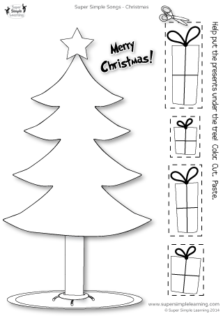 santa where are you presents tree christmas worksheet from super simple learning prek. Black Bedroom Furniture Sets. Home Design Ideas