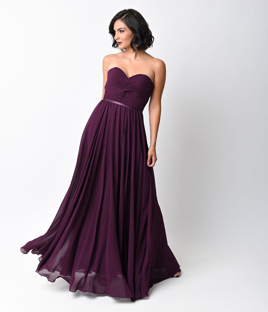 Eggplant Chiffon Strapless Sweetheart Corset Long Gown