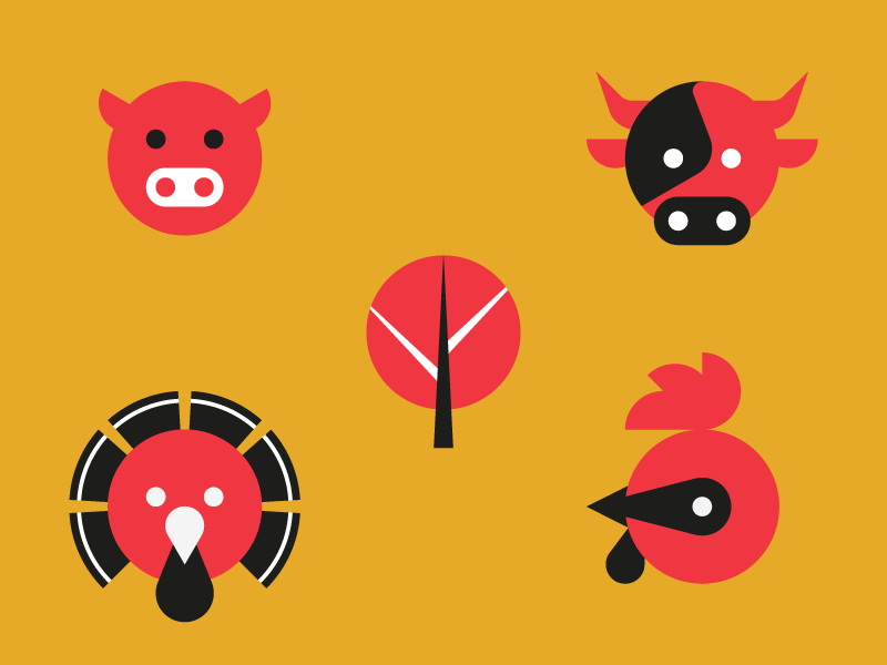 Animal circle icons by Studio Mistaker