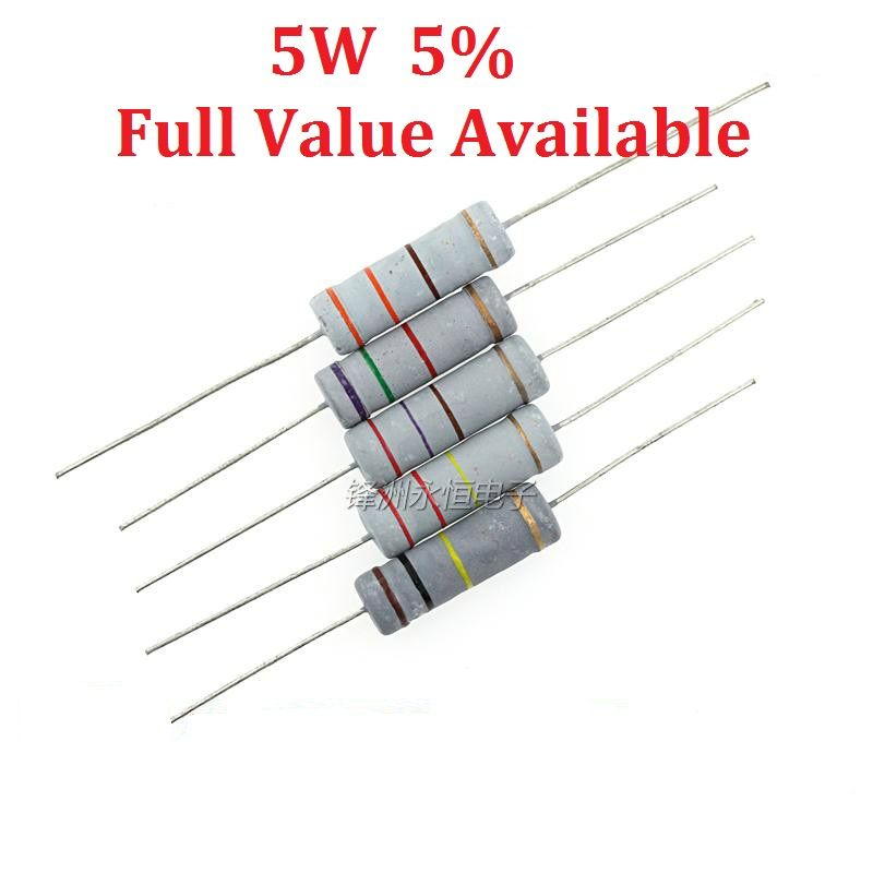 10pcs Lot 5w 0r 0 5r 1r 2 2r 3 3r Oxide Film Resistor 0 5 Ohm 5w 5 Carbon Film Resistance Large Power Resistors 5w0 5r Affiliate Resistors Ohms Higher Power
