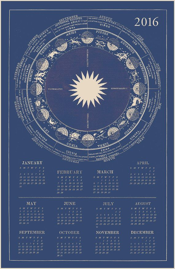 Zodiac Calendar Blue Astrology Calendar By Capricornpress