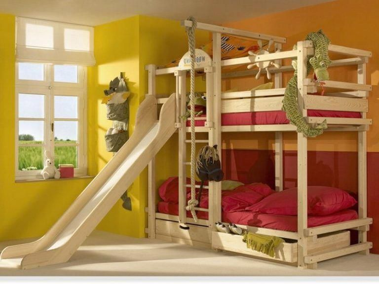 Kids Bunk Bed With Slide And Swing
