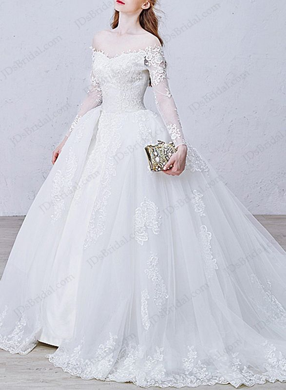 IS012 Stunning off shoulder illusion long sleeves lace ball gown ...