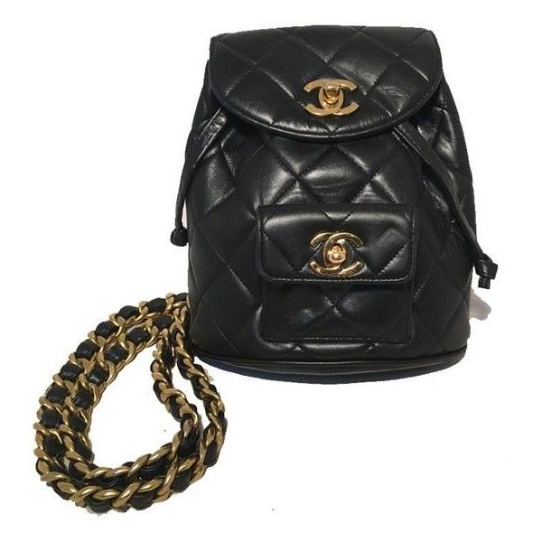 Pre-Owned Chanel Vintage Black Quilted Leather Mini Backpack ... : black quilted rucksack - Adamdwight.com