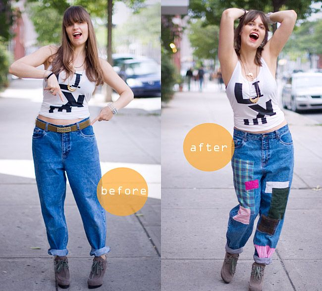 DIY Patched Vintage Jeans Inspired By Junya Watanabe Before And After #diy#upcycled#clothes#fashion#patched#vintage#jeans#JunyaWatanabe#beforeafter