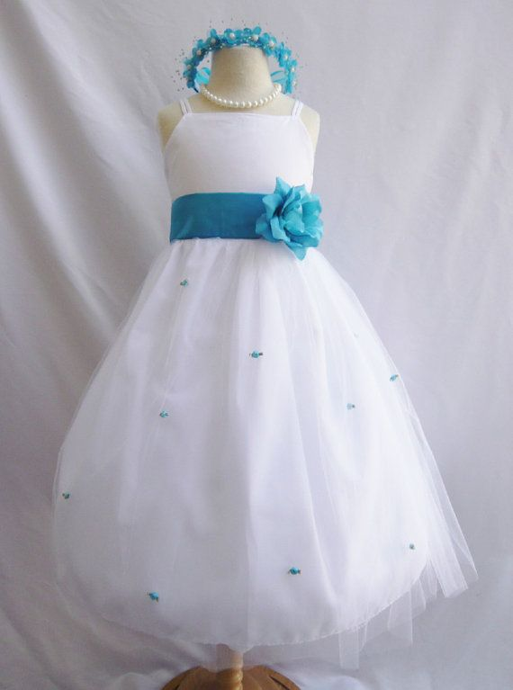 30607d3059f9 Flower Girl Dress WHITE Turquoise RB3 Wedding Children Easter ...