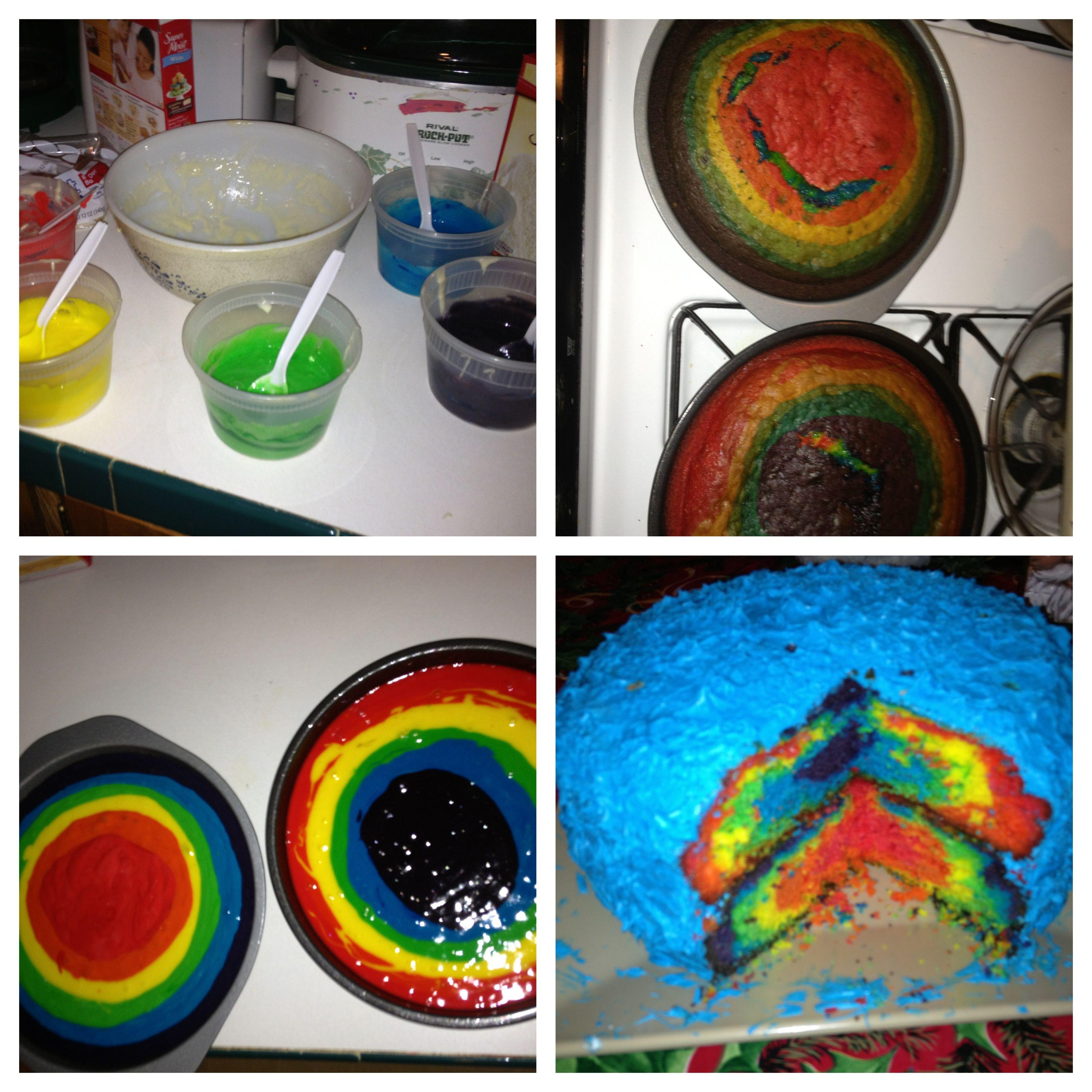 Rainbow birthday cake!! 2 white cake boxes, 1 package of gel ...