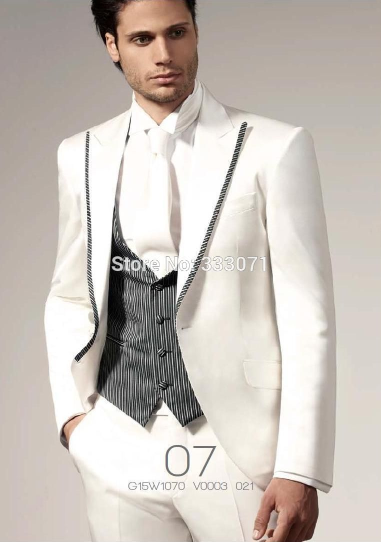 Click to Buy << New Custom-tailor Slim Fit white with stripes ...