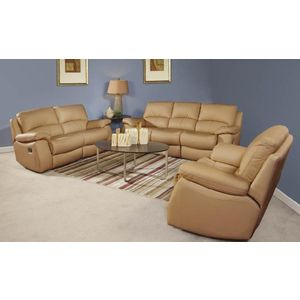 Breezes 3 Pc Sofa Set In Camel Leather Match Sofa