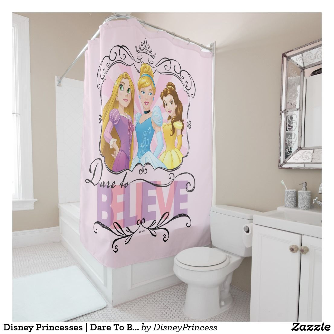 Disney Princesses Dare To Believe Shower Curtain Zazzle Com