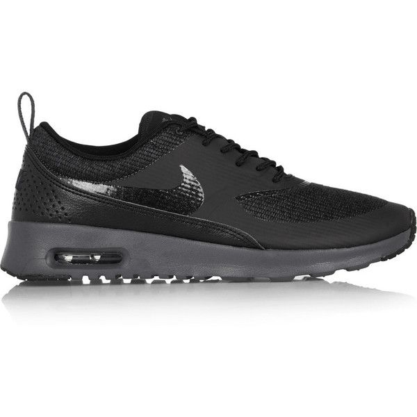brand new d762d 9a05a Air Max Thea mesh and leather sneakers ( 130) ❤ liked on Polyvore featuring  shoes, sneakers, leather trainers, nike footwear, leather shoes, nike and  nike ...
