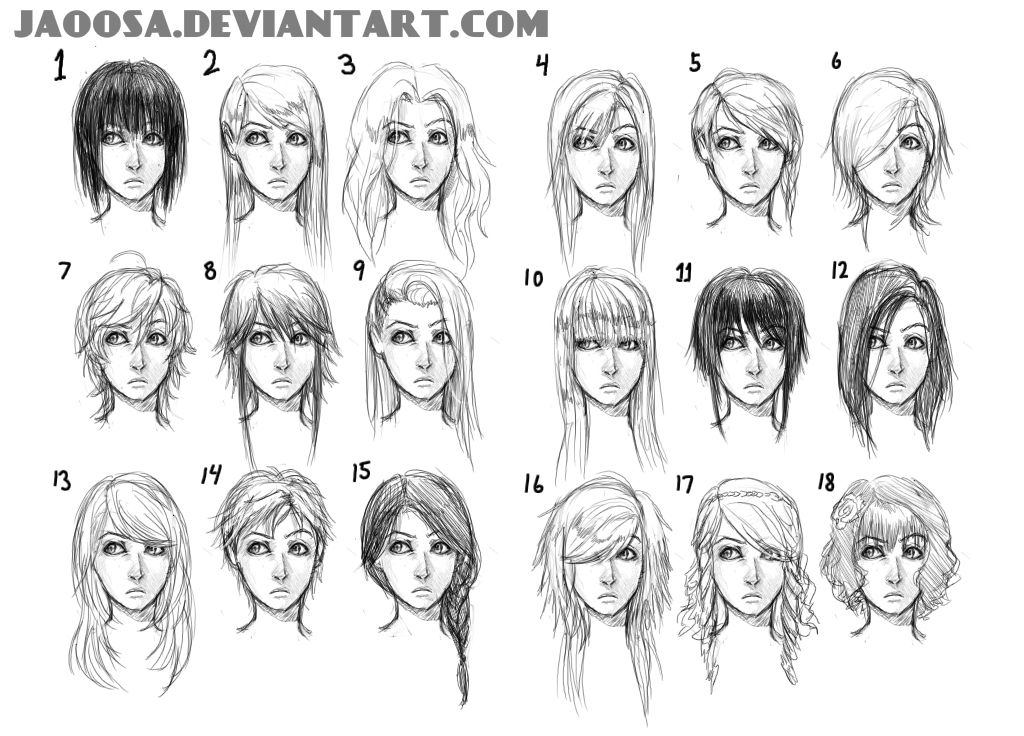 18 hairstyles part 1 by jaoosa ARTS Drawing Tutorials