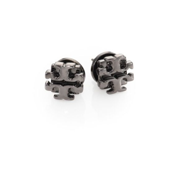 Authentic Tory Burch Logo Earrings Gunmetal A Stylized Modernizes Essential Studs Post Back Or Silver Plating