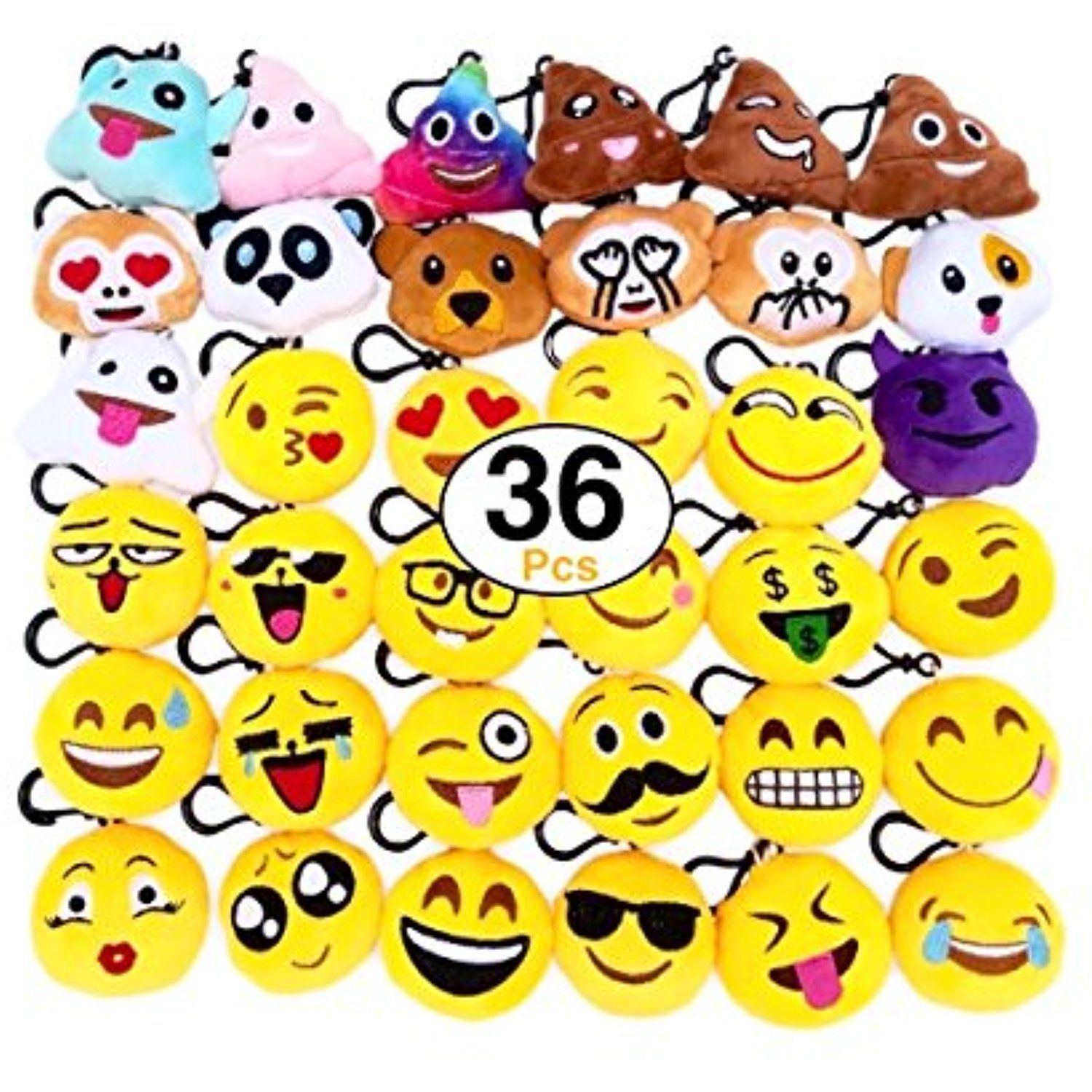 O\'Hill 36 Pack Emoji Plush Pillows Mini Keychain Decorations for ...