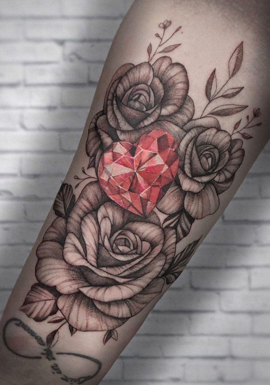 Roses And Diamonds Tattoo : roses, diamonds, tattoo