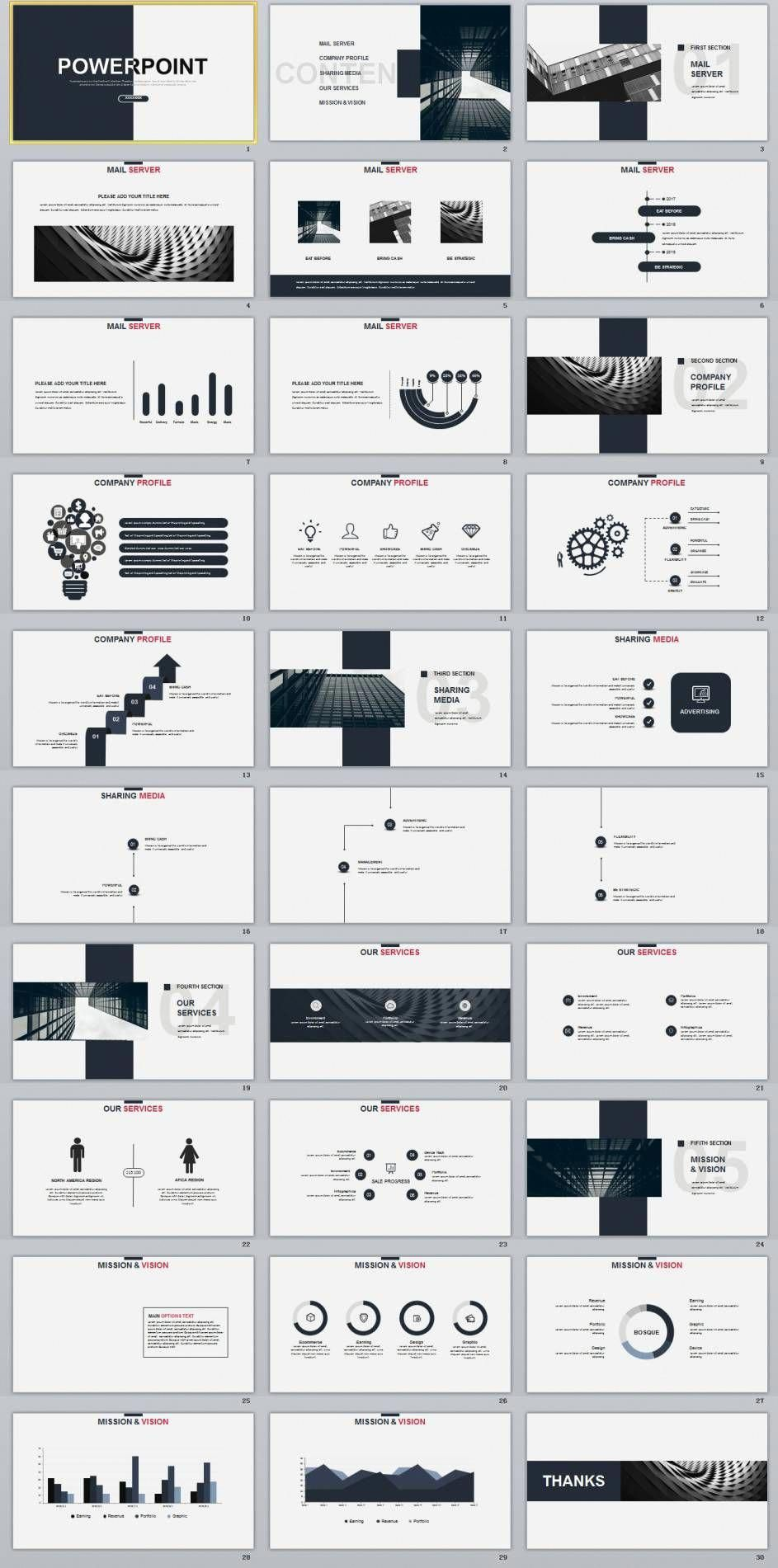 30 gray creative charts design powerpoint template infographics