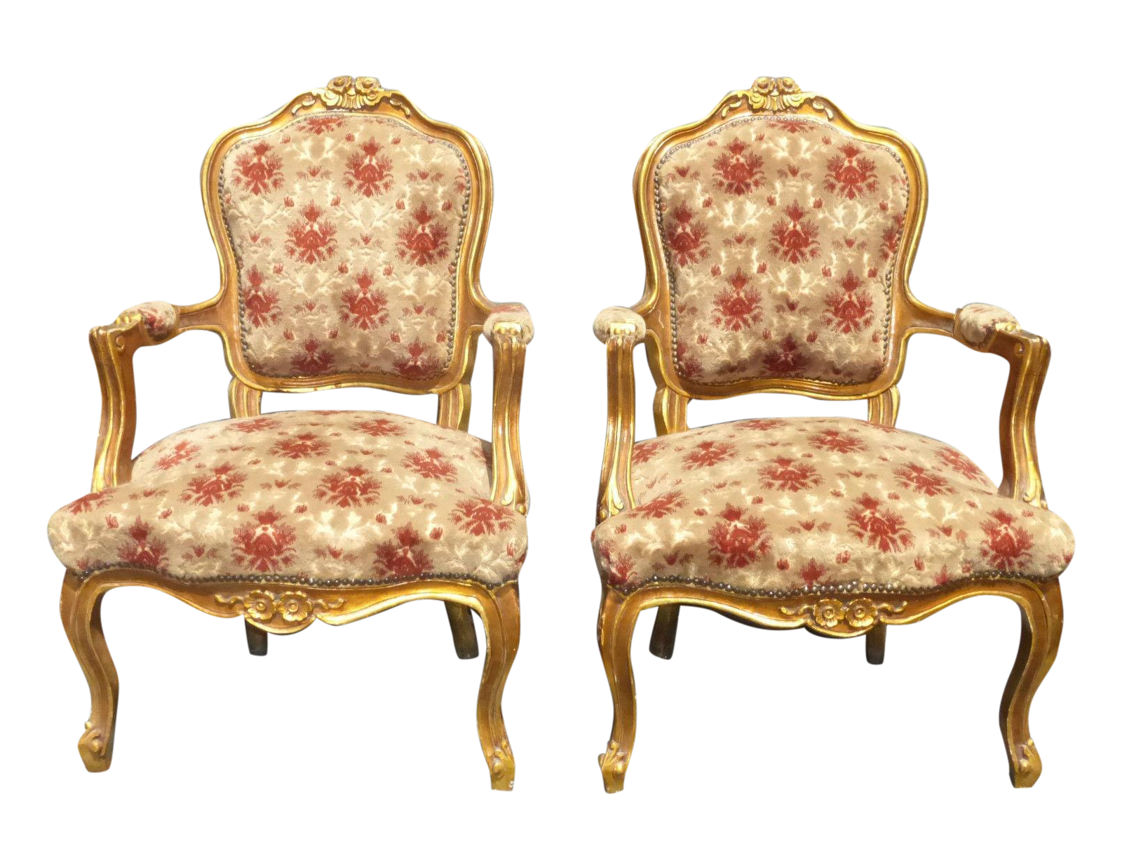 Provence Mobel Style : Antique french louis xv gilt arm chairs pair