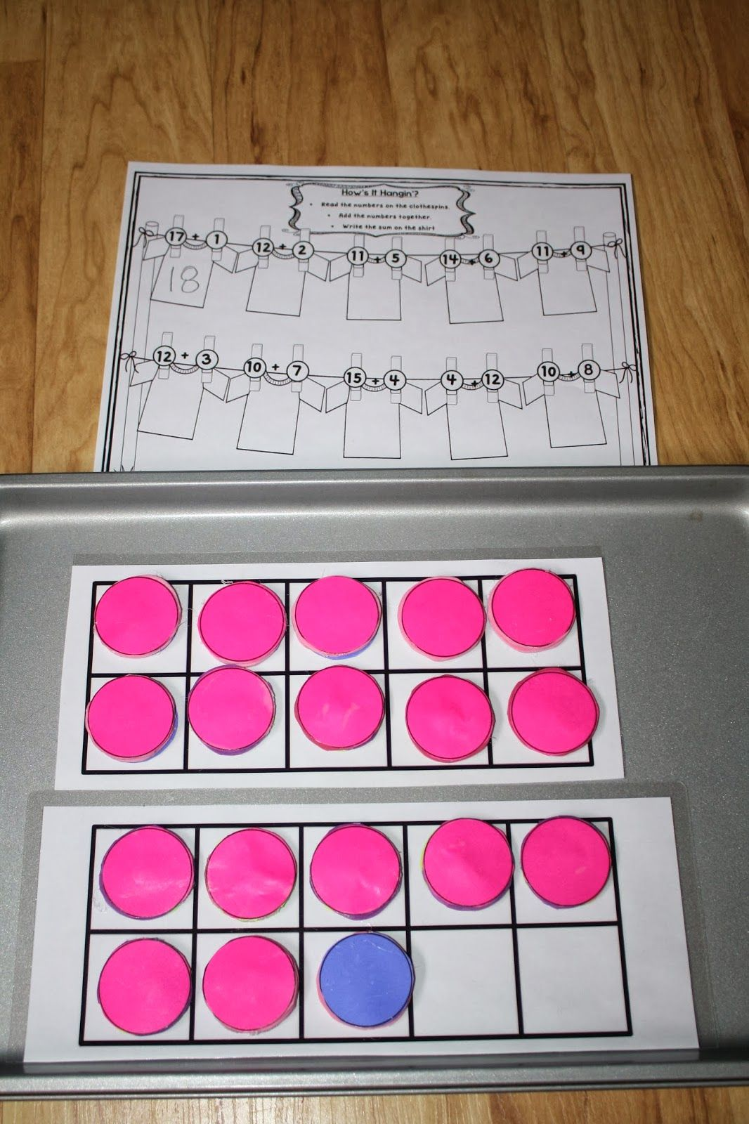 Use Two Ten Frames And Double Sided Counters To Solve Addition Problems With Sums 11 20