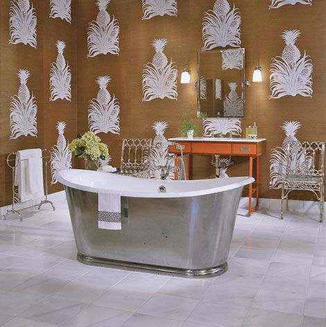 Dressing room and bath combined by designer Athalie Derse. The scarlet  vanity stands out between