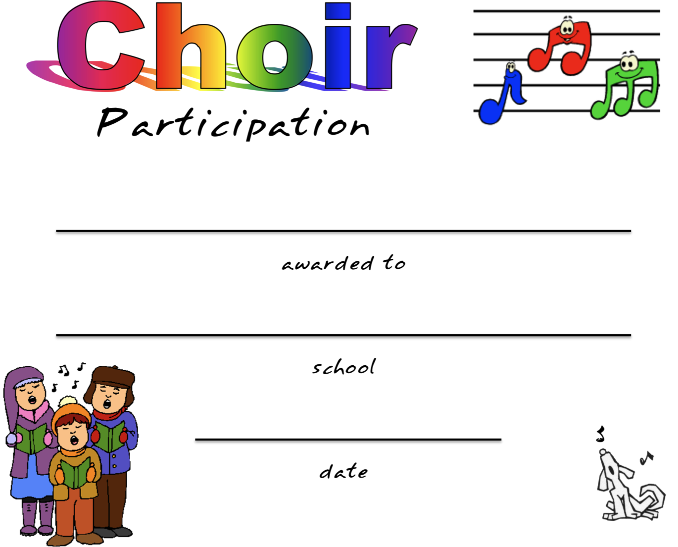 Beth S Music Notes Chorus Certificates Awards