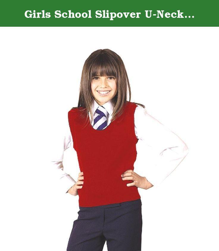 Schoolwear Girls U-Neck Slipover Wool Mix Sleeveless Jumper Kids School Tanktop