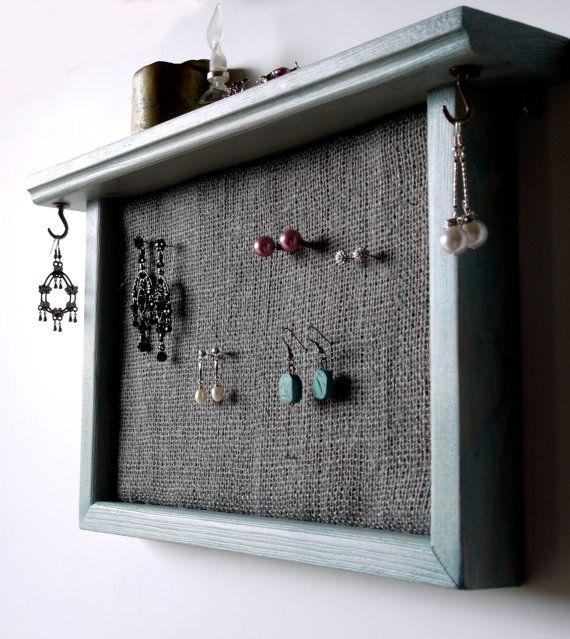 stud earrings holder grey burlap earrings display jewelry storage
