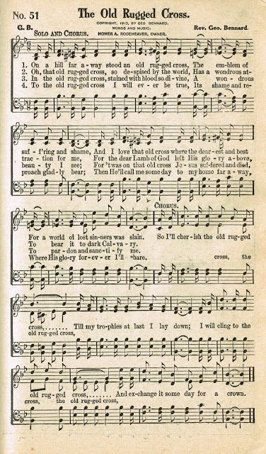 Sonday The Old Rugged Cross Antique Hymn Page Printable Knick Of Time