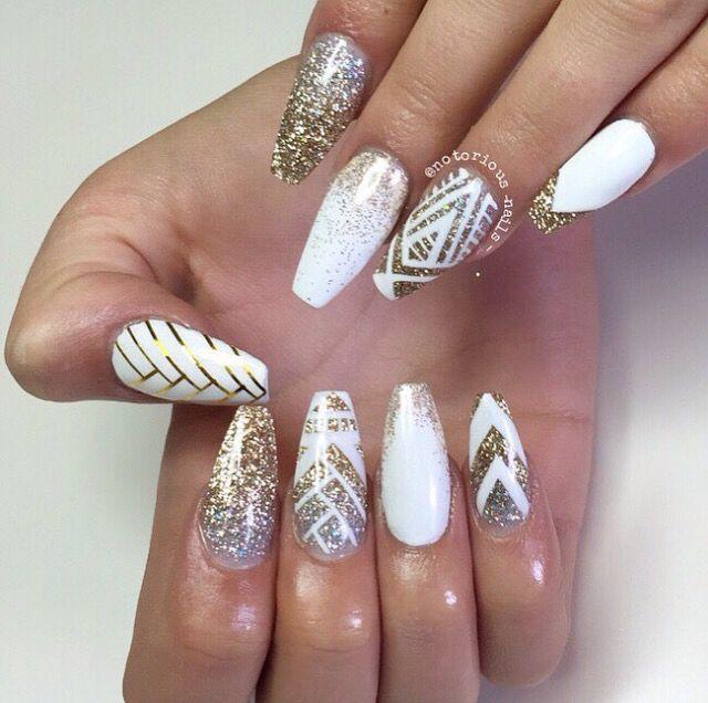 White & gold coffin nails