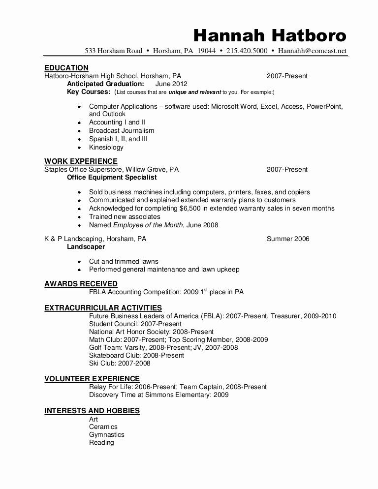 High School Diploma On Resume Unique Resume Sample Hannah Hatboro 0411 Student Resume Student Resume Template Job Resume Examples